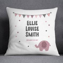 Personalised New Baby Cushion | Grey, Blue or Pink