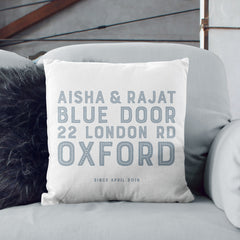 Personalised New Home Contemporary Cushion | Blue, Pink, Grey Or Black