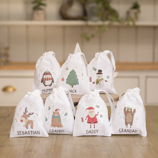 Personalised Christmas Character Treat Gift Bag - Various Designs