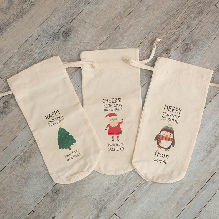 Personalised Christmas Characters Bottle Gift Bag - Various Designs
