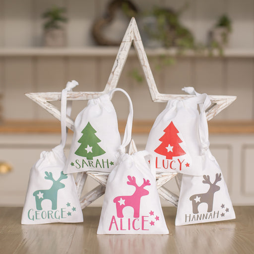 Personalised Christmas Reindeer Or Tree Treat Gift Bag - Various Colours
