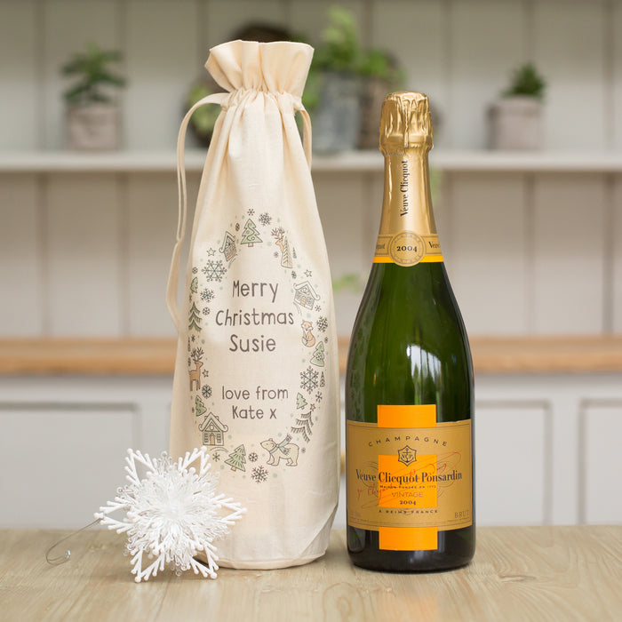 Personalised Christmas Scandi Wreath Bottle Gift Bag