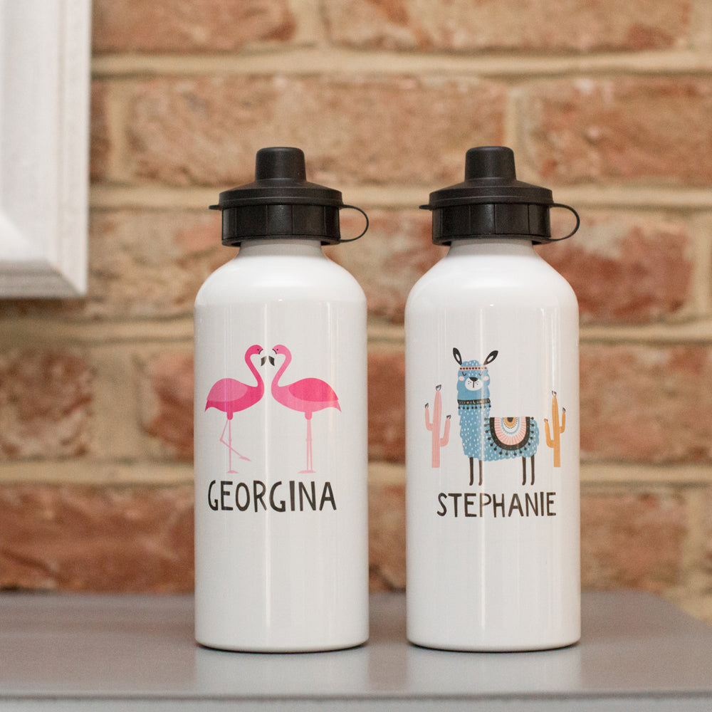 Personalised Flamingo or Llama Water Bottle