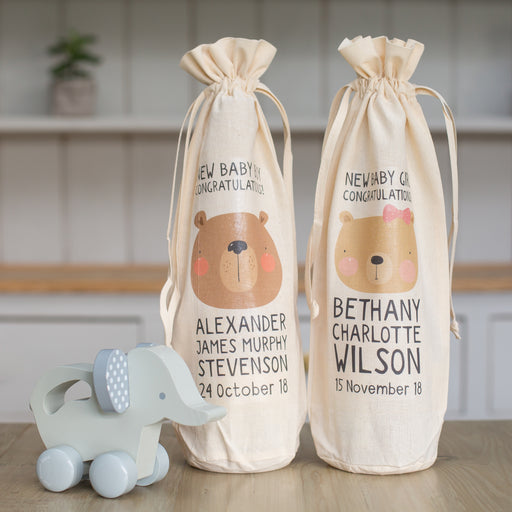 Personalised New Baby Bottle Gift Bag