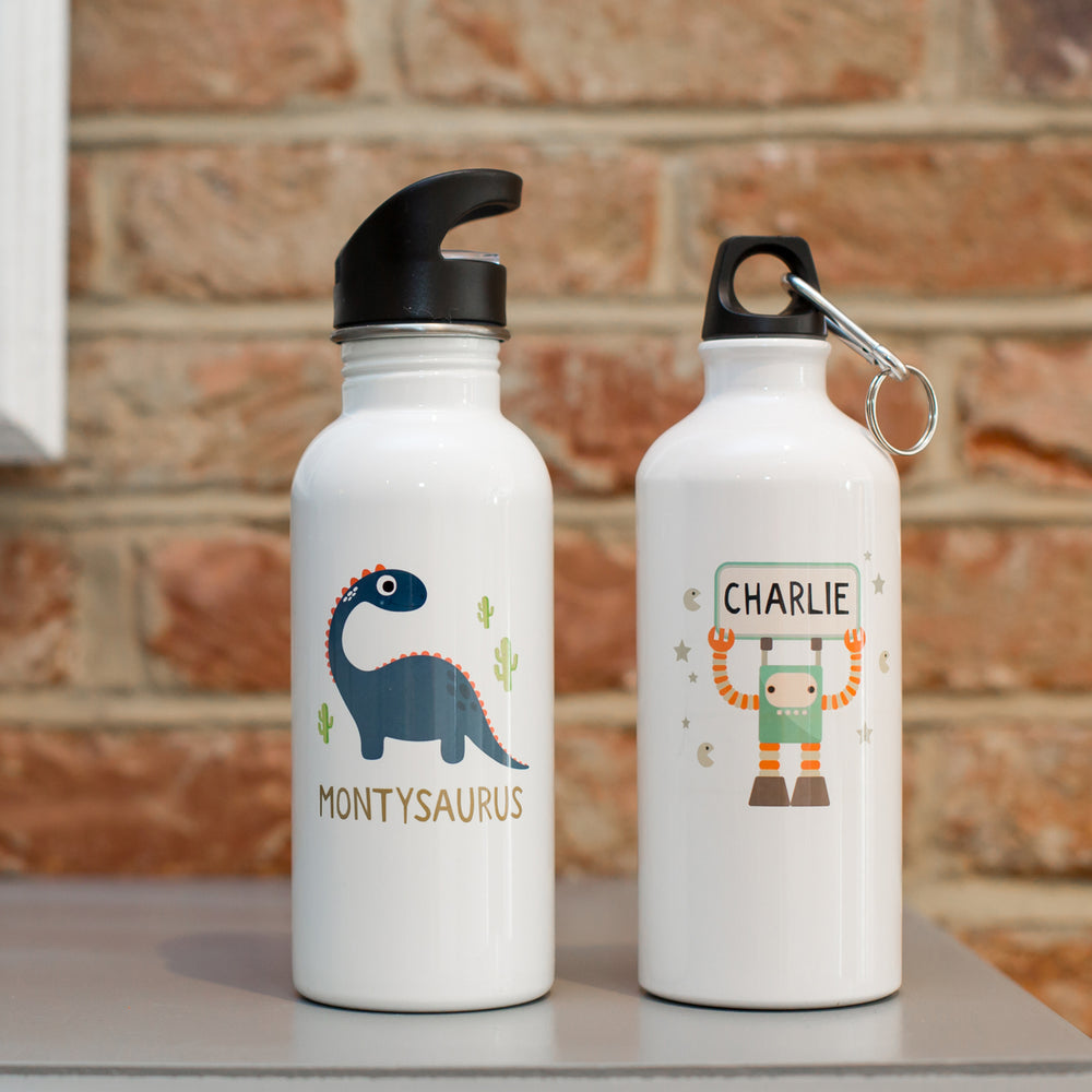 Children's Personalised Dinosaur or Robot Water Bottle