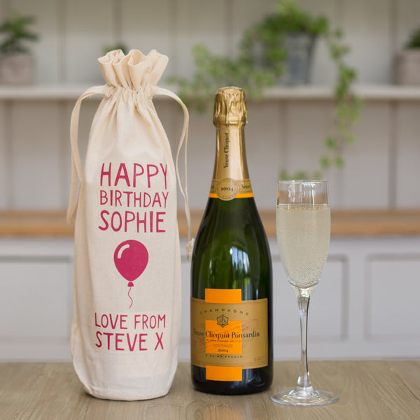 Personalised Happy Birthday Bottle Gift Bag Various Colours Not Another Bunch Of Flowers