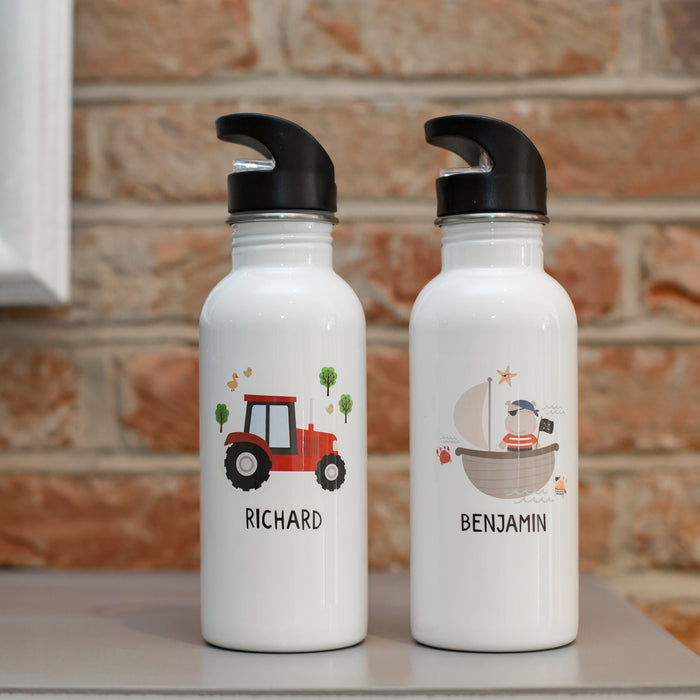 Children's Personalised Tractor Or Pirate Water Bottle
