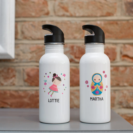 Children's Personalised Fairy Or Russian Doll Water Bottle
