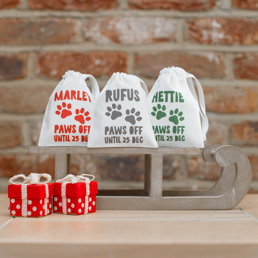 Paws Off Until 25 Dec Pet Treat Personalised Gift Bag