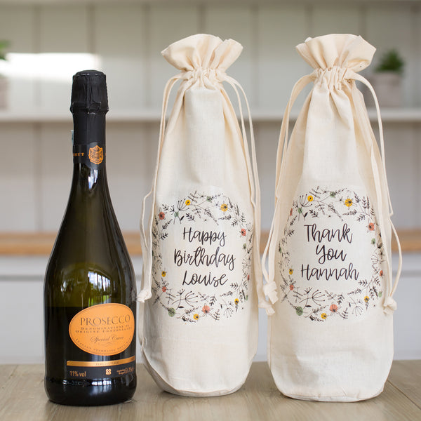Personalised Message Bottle Gift Bag Not Another Bunch Of Flowers