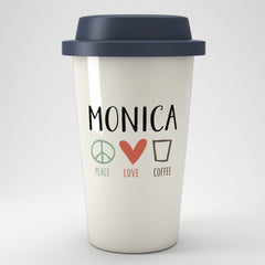 Peace Love Coffee Personalised Eco Travel Mug