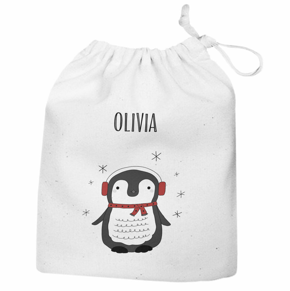 Personalised Christmas Penguin Large Gift Sack