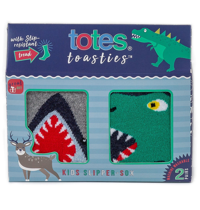 Totes Kids Slipper Socks - Shark and Dinosaur