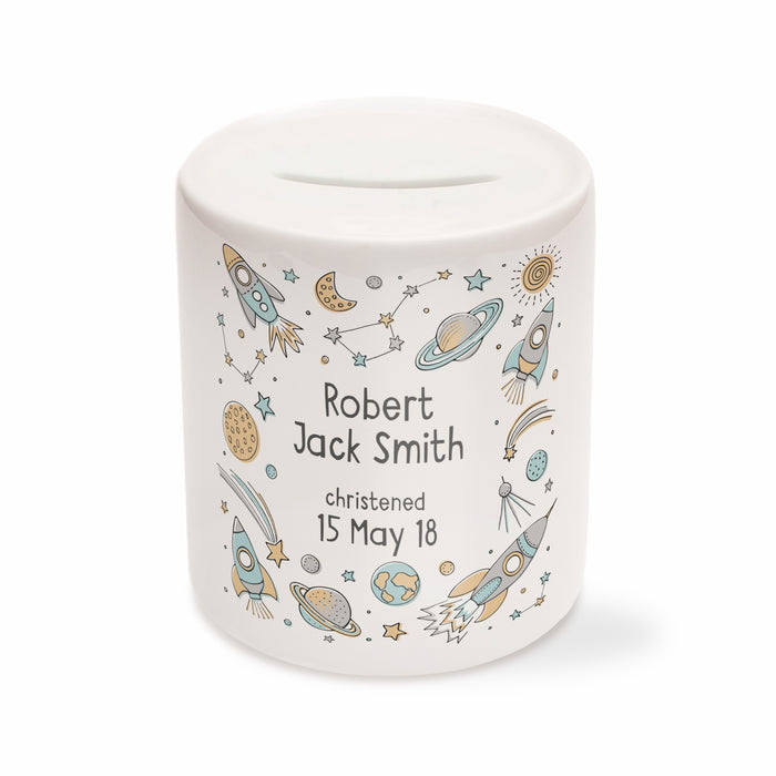 Children's Personalised Space Themed Money Box