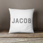 Personalised New Baby Simple Text Cushion | Blue, Pink, Grey Or Black