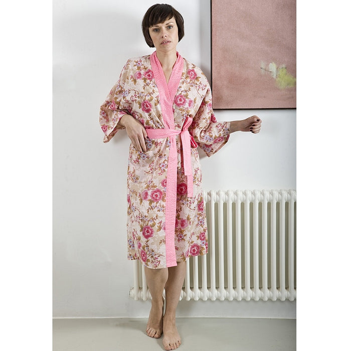 Caro London Pink Beautiful Cotton Wrap Kimono