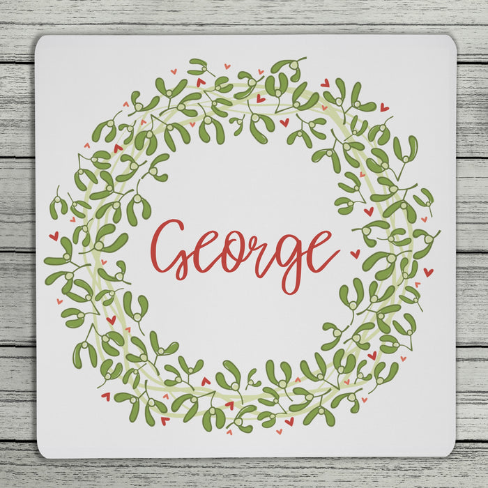 Mistletoe And Love Christmas Personalised Name Coaster