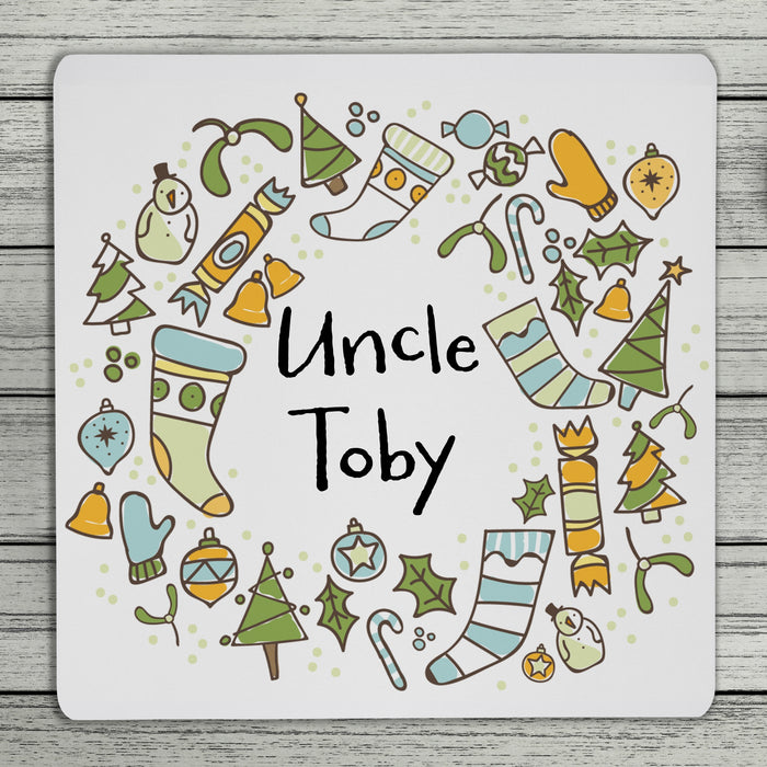 Cheery Christmas Personalised Coaster (Blue Or Red)