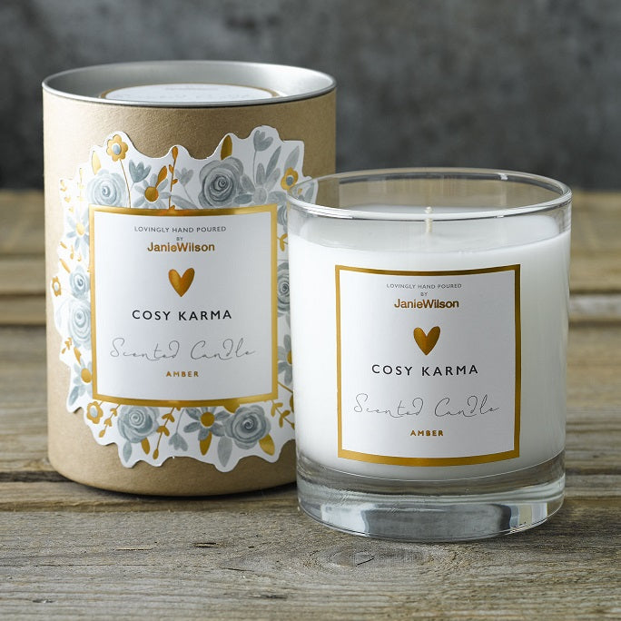 Cosy Karma Amber Scented Glass Candle