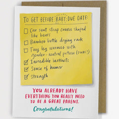 'Due Date Checklist' New Baby Card