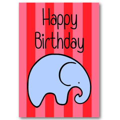 """Elephant"" Happy Birthday Card"