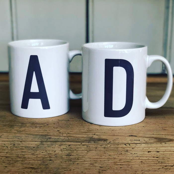 Contemporary Initial Mug (Personalised Message Optional - Various Colours)