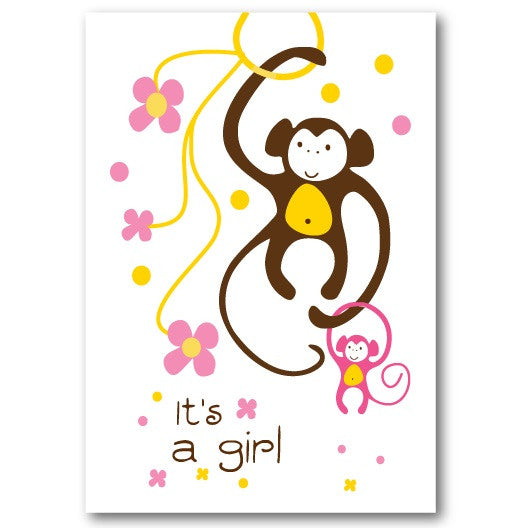 """It's A Girl! Monkey"" New Baby Card"