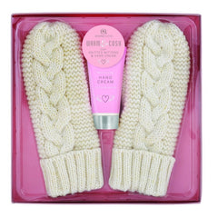Cream Knitted Mittens with Hand Cream