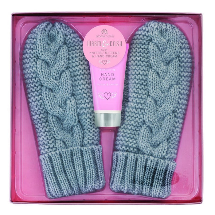 Grey Knitted Mittens with Hand Cream
