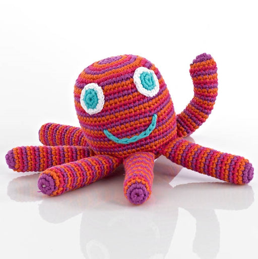 Fairtrade Cotton Crocheted Octopus Baby Toy Rattle - Pink