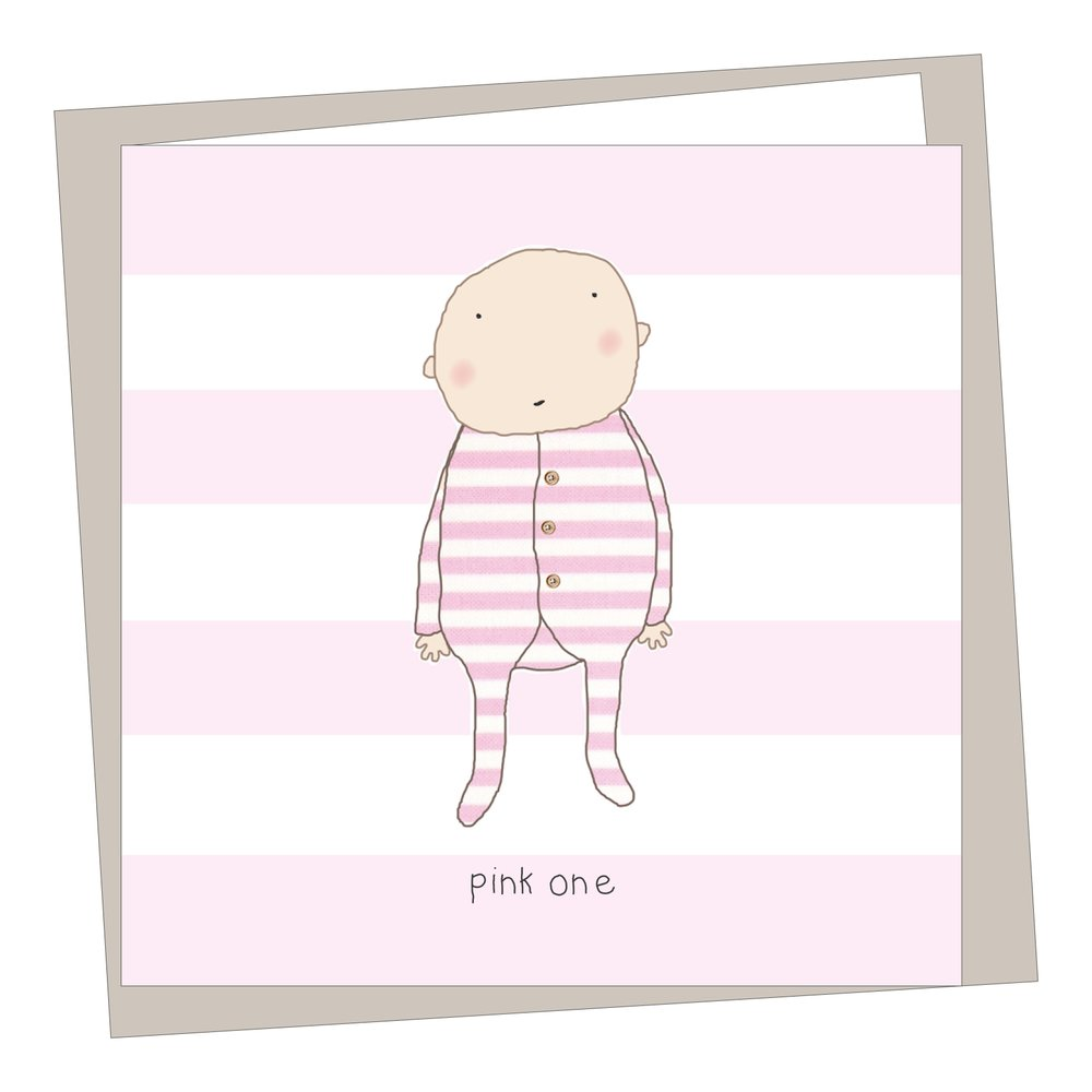 """Pink One"" New Baby Card"