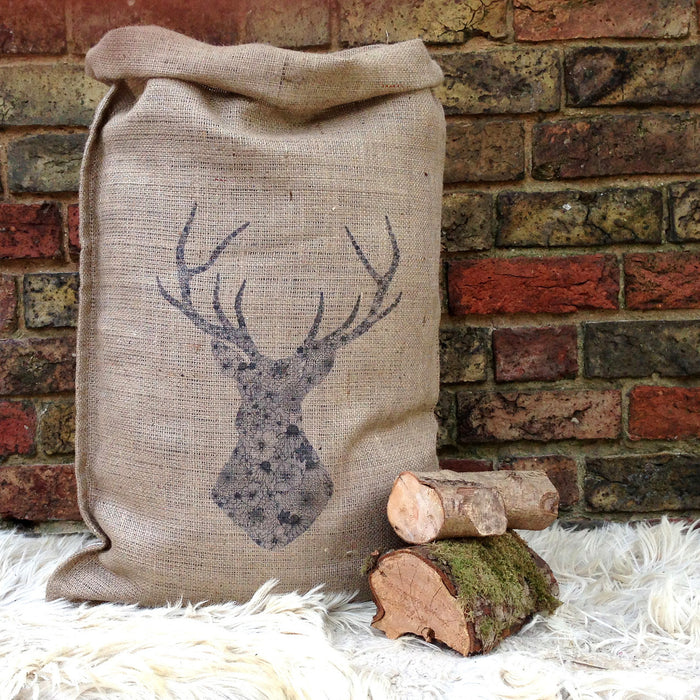 Floral Stag Christmas Hessian Sack - Small Or Large