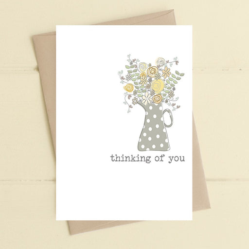 """Thinking of You Grey Flower Pot"" Card"