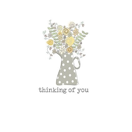 """Thinking of You Grey Flower Pot"" Get Well Card"