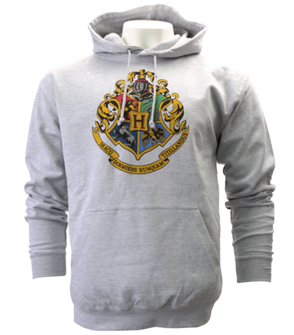 Grey Hogwarts Crest Hooded Jumper