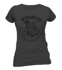Grey Distressed Hogwarts T-Shirt - Womens