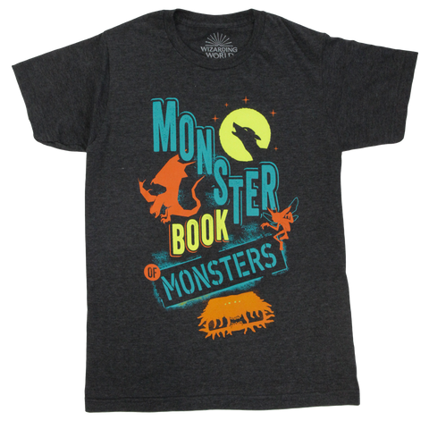 Magical Mischief Monster Book of Monsters Flocked Charcoal T-Shirt