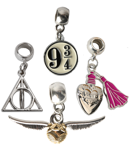 Slider Charm Set - Love Potion, Deathly Hallows, Golden Snitch, Platform 9 3/4