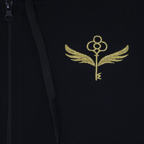 Enchanted Key Black Zip-Up Hoodie with Wand Pocket