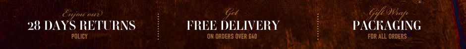28 Day Returns, Free Delivery under £40, Gift Wrap Packaging for all orders