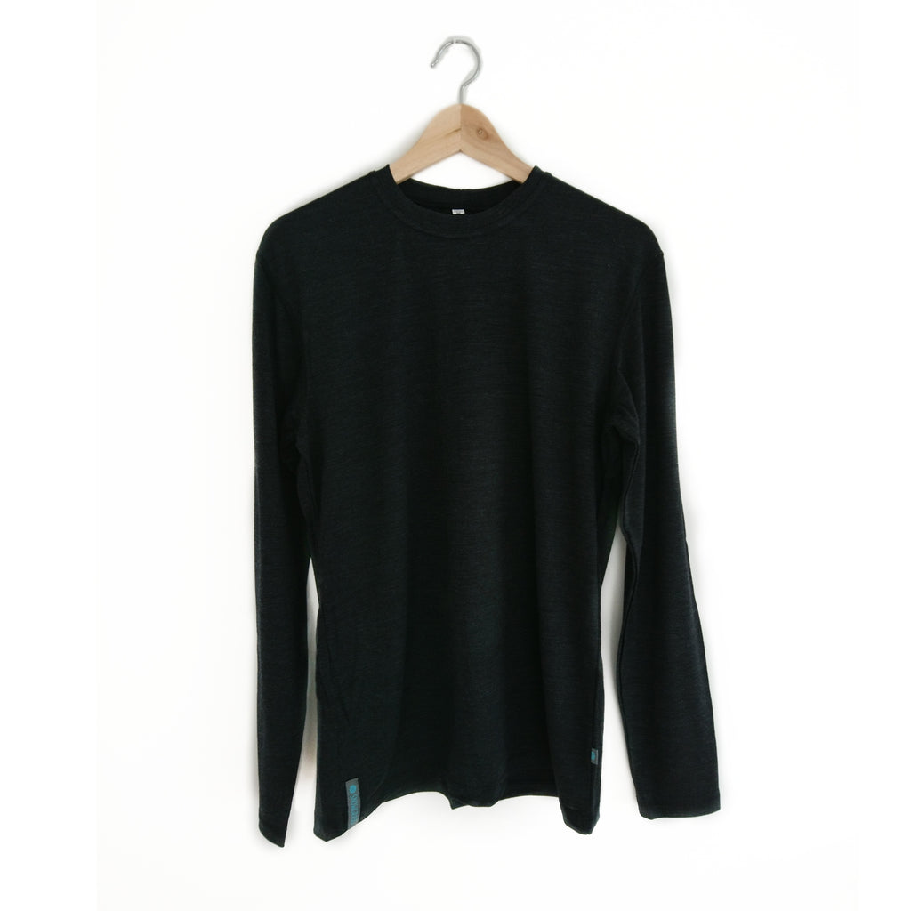 NEW! Charcoal Long Sleeved Merino Wool Mens Top