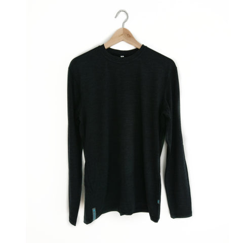 Charcoal / Black Long Sleeved Merino Wool Mens Top