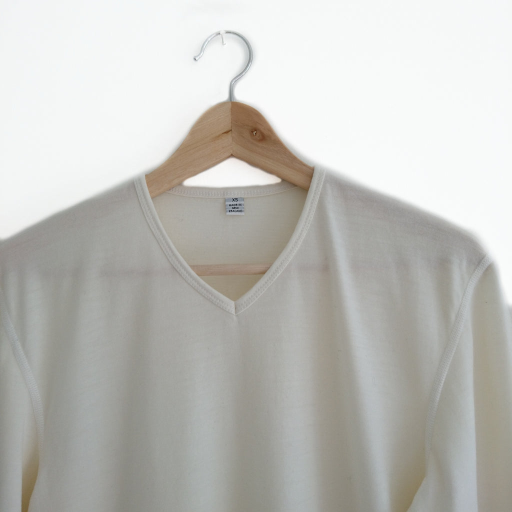 Soft White V Neck Merino Wool Mens Top