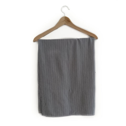 Merino Wool Grey Stripe Baby Blanket