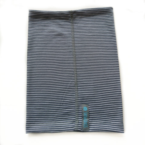 NEW! Grey-Steel Stripe Merino Wool Neck Gaiter