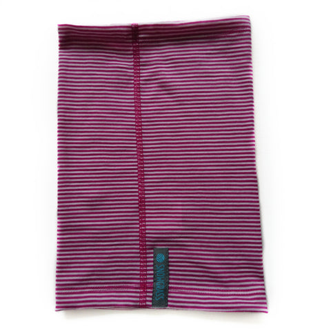 Pink Stripe Merino Wool Neck Gaiter