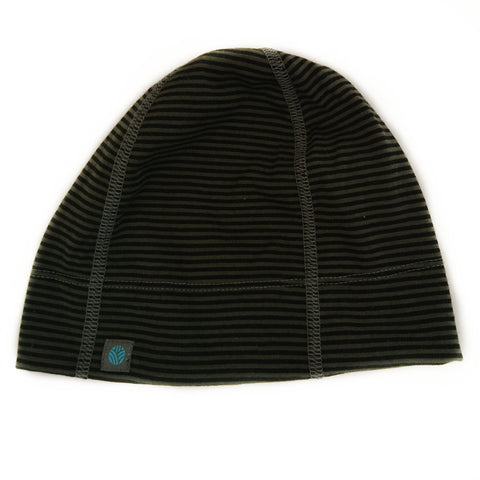 Green-Black Stripe Merino Wool Beanie