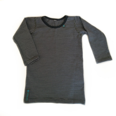 NEW! Navy-Grey Stripe Merino Wool Long Sleeved Top