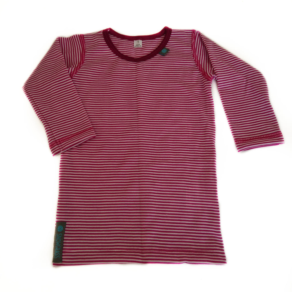 NEW! Pink Stripe Merino Wool Long Sleeved Top