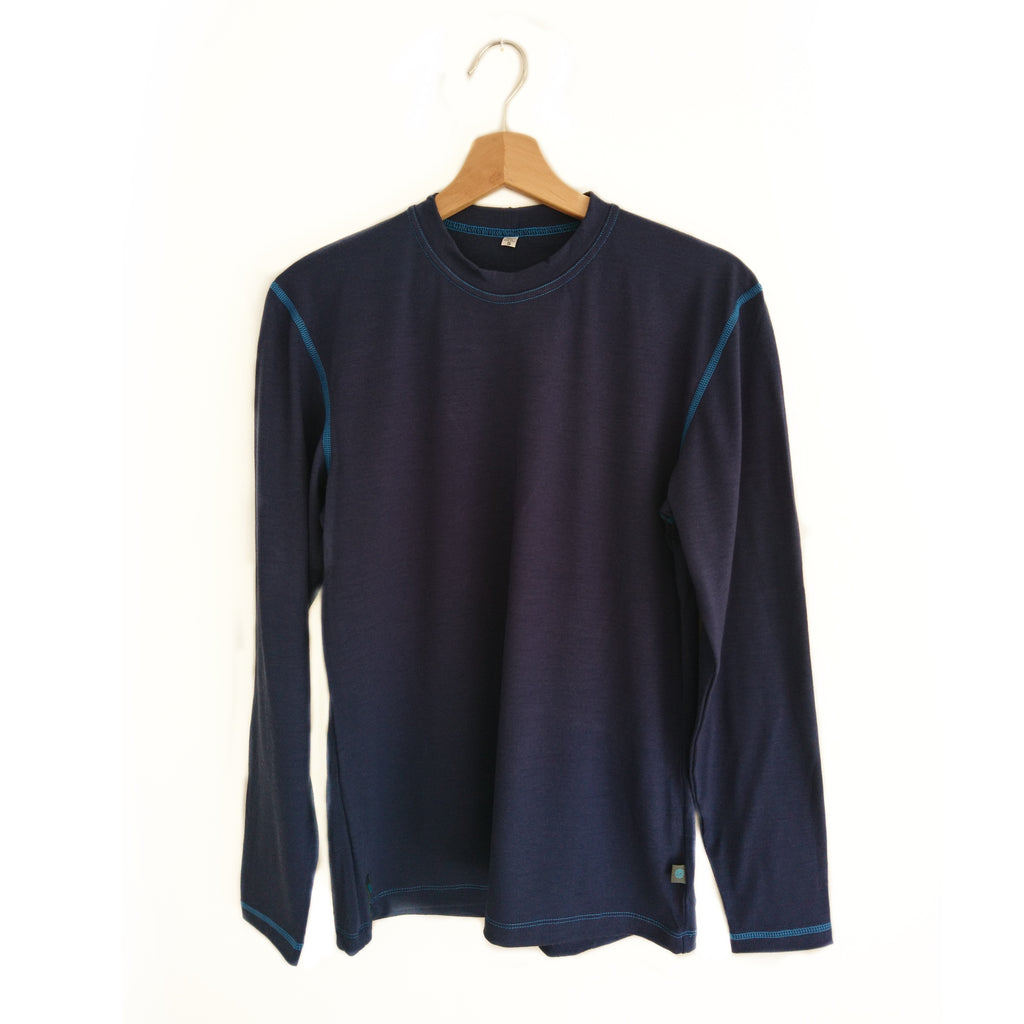 Blue Merino Wool Mens Long Sleeved Top